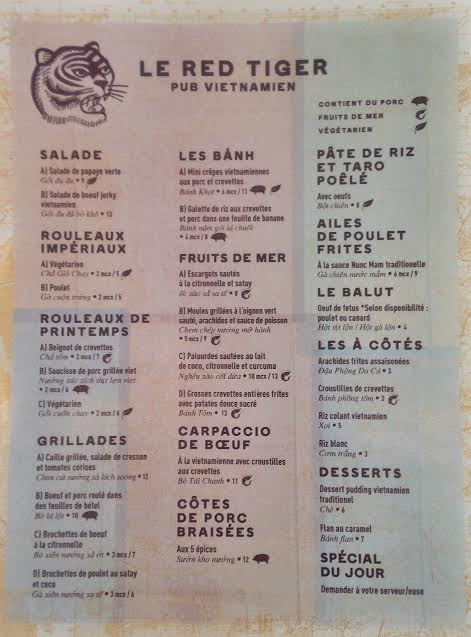 Le Red Tiger : charmant petit resto dans le Village