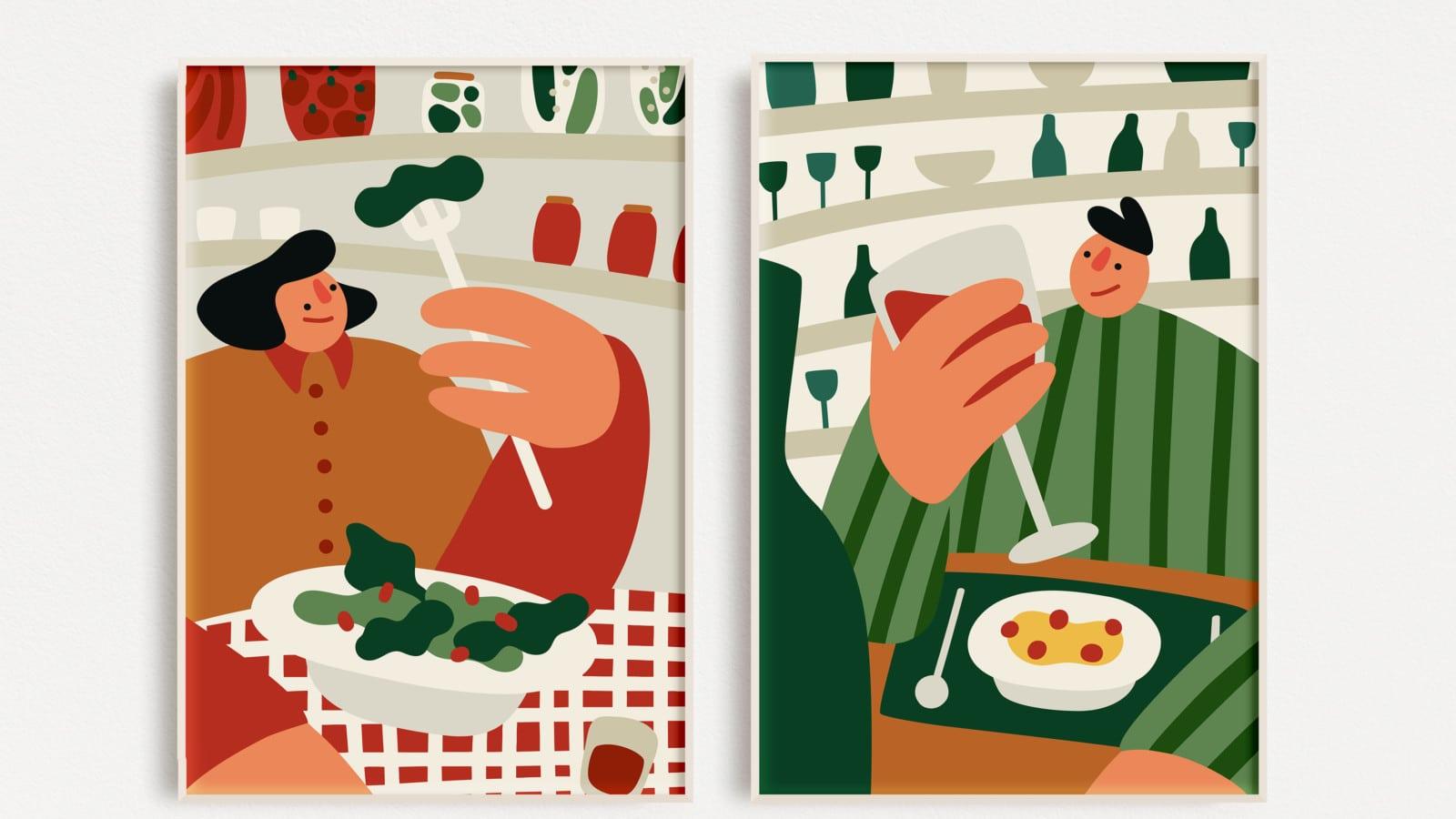 illustrations femme salade homme vin